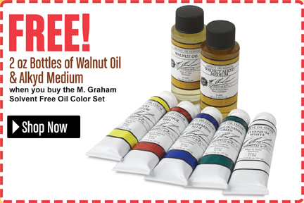Free 2oz Bottles of Walnut Oil & Alkyd Medium when you buy the M.Graham Solvent Free Oil Color Set