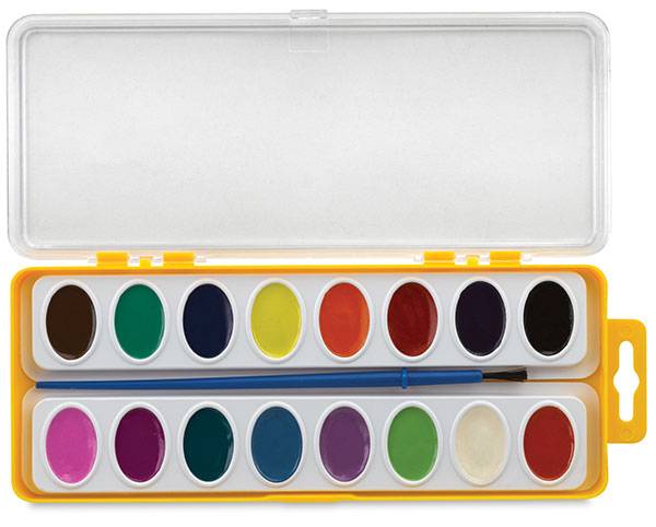 Washable Watercolors, Set of 16 w/ Brush