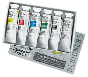 Winsor & Newton Designers Gouache, Primary Set of 6