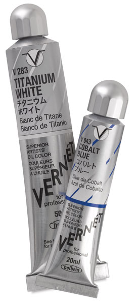 Vernet Superior Artists' Oil Color, Titanium White, 50 ml and Cobalt Blue, 20 ml