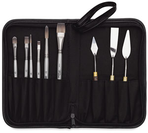 Set of 6 Titanium Brushes and 3 Palette Knives