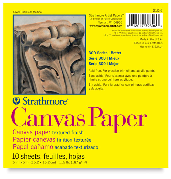 Canvas Paper Pad, 10 Sheets 6&quot;  6&quot;