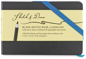 Blank Sketch Book with Blue Accents, 64 Sheets 5&quot;  3&quot; Landscape