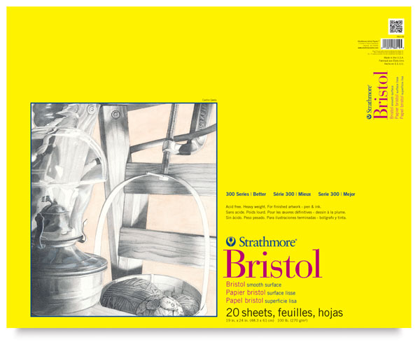 "Smooth Bristol Pad, 20 sheets 19"" × 24"""