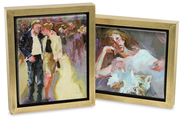 """Downtown"", ""Contentment"" by Kim Roberti (Gold Leaf / Black Frame)"