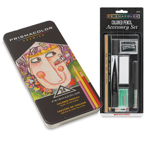 Premier Colored Pencils, Set of 24 with  FREE  Accessory Set