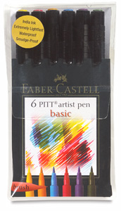 Faber-Castell Pitt Artist Pens, Basic Colors, Set of 6