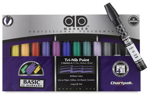 Set of 12 with  FREE Black Fine Tip Ad Marker