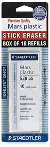 Retractable Stick Eraser Refill, Pkg of 10