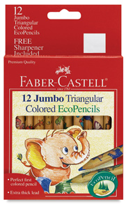 Jumbo Triangular Colored EcoPencils, Set of 12