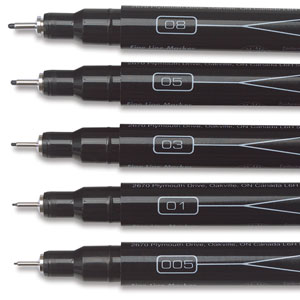 Nib Sizes, Top to Bottom: 08, 05, 03, 01, 005