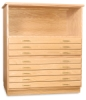 3-Drawer and 5-Drawer Files with Bookshelf, Base, and Cap in Natural Oak