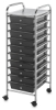 Mobile Storage Cart, 10-Drawer Smoke