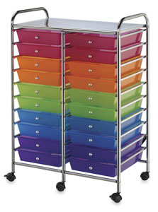Mobile Storage Cart, 20-Drawer Multi