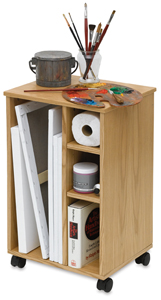 Mobile Taboret/Caddy, Natural Oak