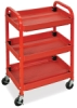Compact Adjustable-Height Utility Cart, Red