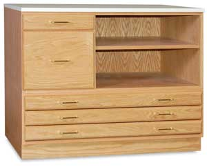 SMI Flat File Storage System, Natural Oak (3 Drawer Stackable File with Cap and Base, Not Included)