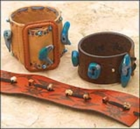 "Upcycled Leather and ""Turquoise"" Cuffs"